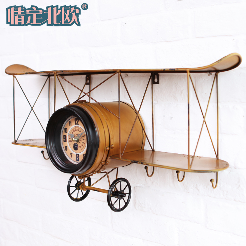 American vintage wrought iron plane wall shelf creative software installed on the wall hooks wall hangings home cafe shop