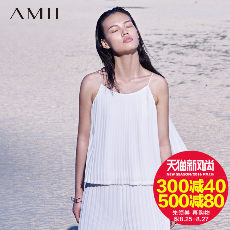 Amii 2016 summer new women's flagship store spaghetti straps accordion pleats pleated loose camisole female tide