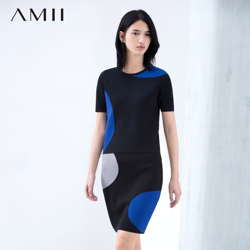 Amii [minimalism] 2016 spring new pop hit color slim knit piece skirt suit 11670258