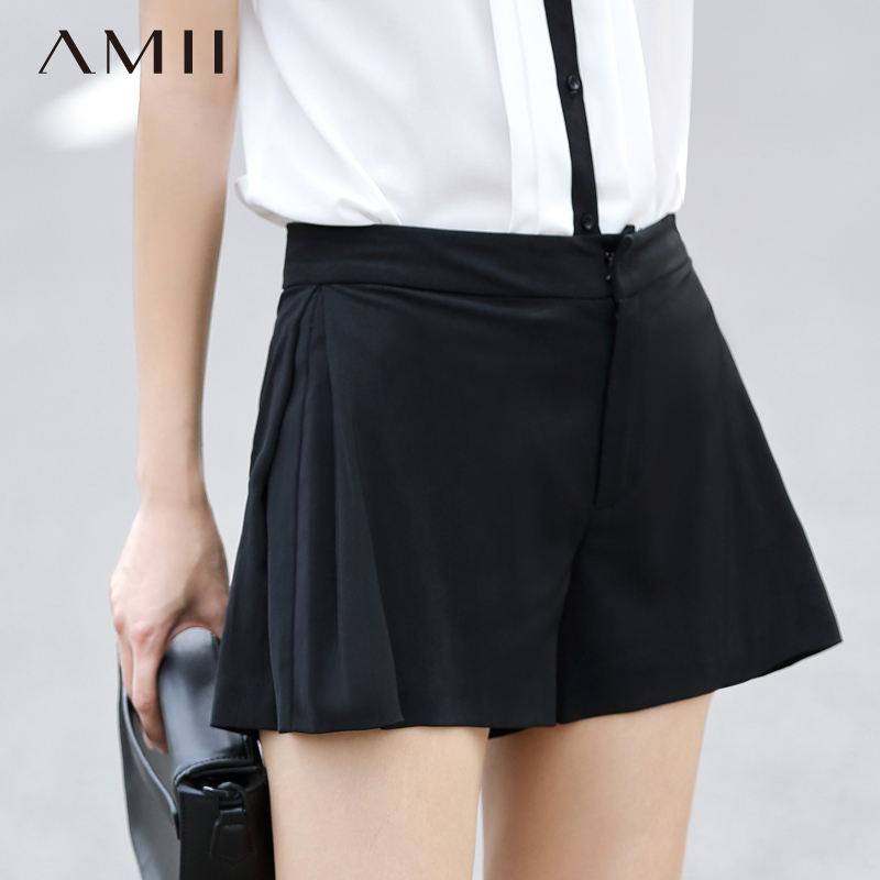 * Amii [minimalism] 2016 summer new solid color was thin big yards straight casual shorts shorts female