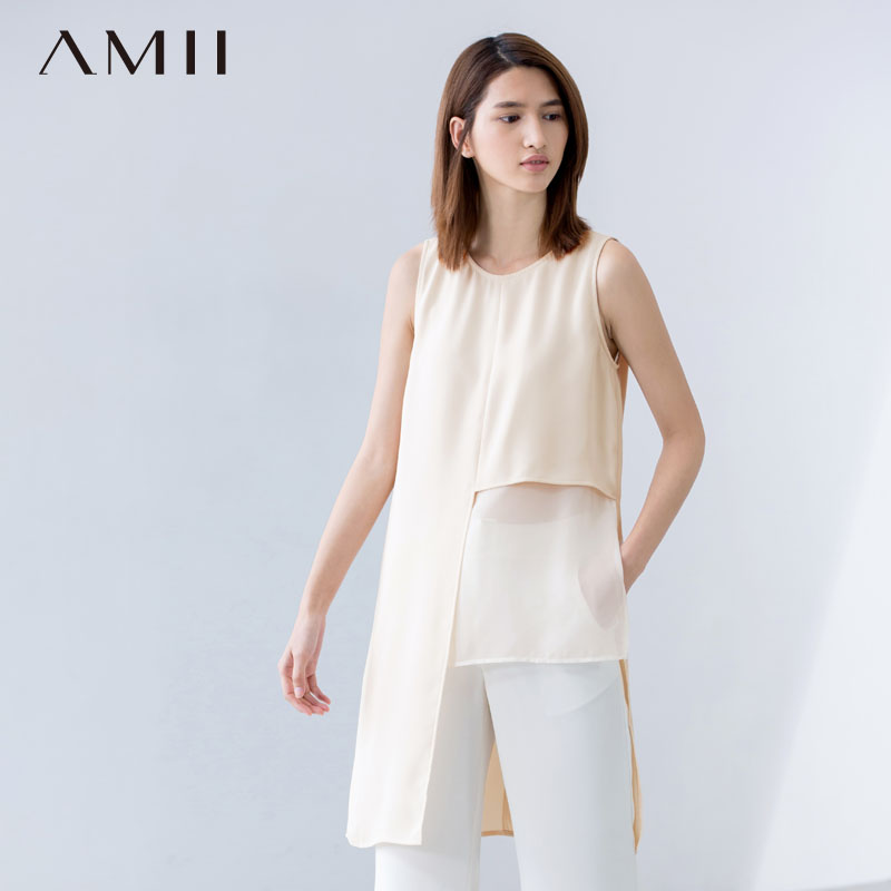 * Amii [minimalism] laminated perspective vest female summer fashion big yards round neck straight