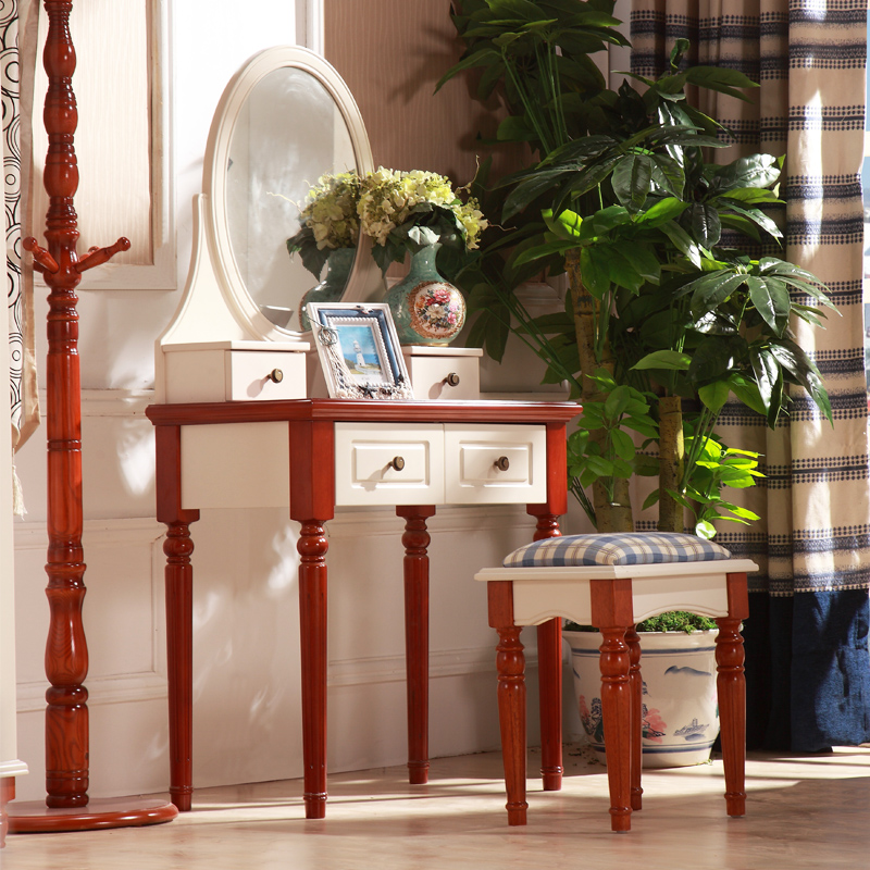 Amoy code dresser mediterranean american country pastoral storage table feet of solid wood dressing table dressing table dressing table with makeup mirror
