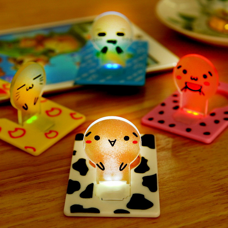 Amoy dulux creative cartoon thin card lamp night light creative energy saving led lights can be put wallet carry a