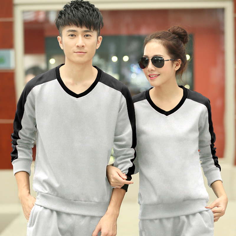 Amy spring and autumn new men and women size yards sportswear football hedging v-neck fashion casual clothes sports suit