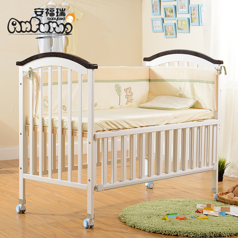 An furui european environmental multifunction wood crib baby bed crib baby crib bed continental bb bed with wheels