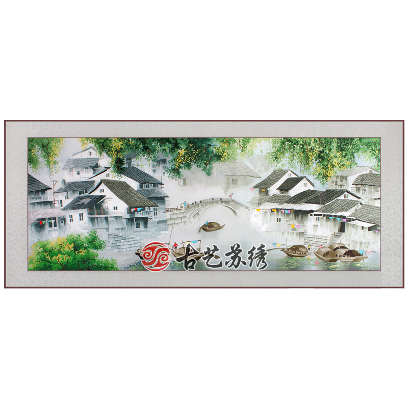 Ancient art of embroidery finished jiangnan suzhou embroidery hand embroidery decorative painting the living room housewarming gift business abroad