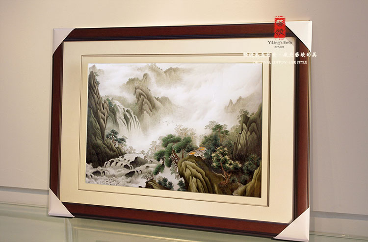 Ancient brand embroidery handmade silk embroidery art landscape landscape painting the living room study wood paintings framed decorative painting