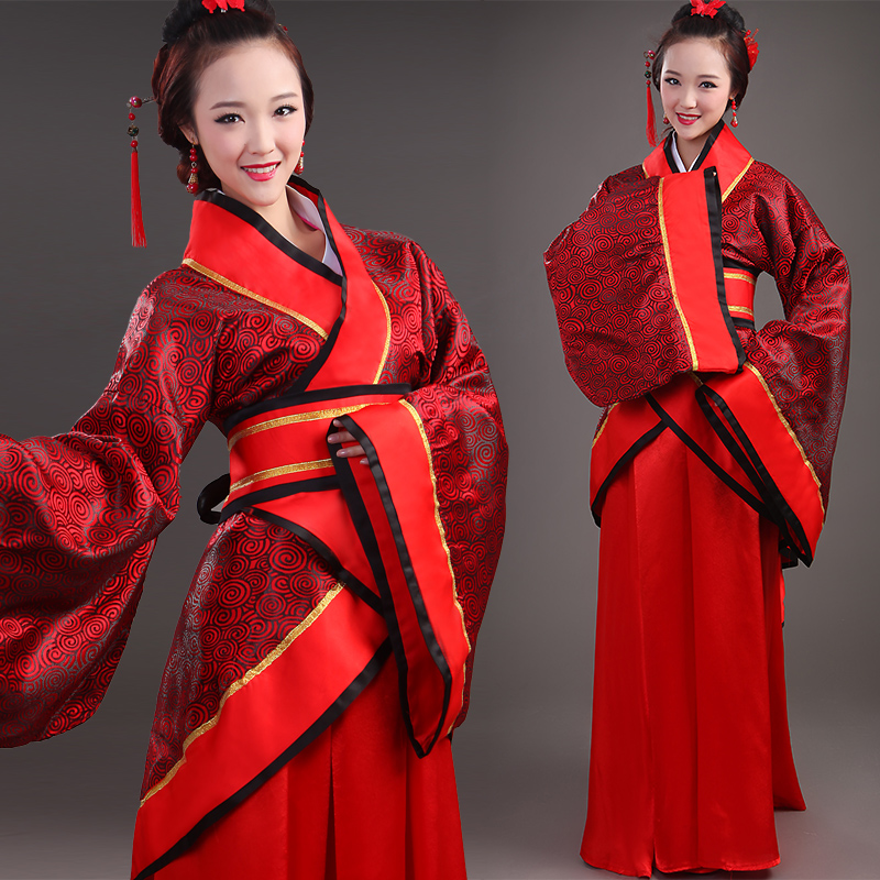 Ancient costume ethnic han chinese clothing garment song stage costumes female royal costume improved chinese elements of the red cross collar jacket skirt