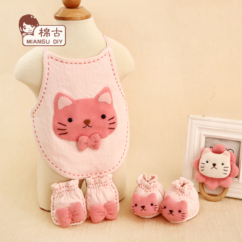 Ancient cotton handmade cotton baby hands and feet set/apron/diy material package kitty cat toy rattles cloth production