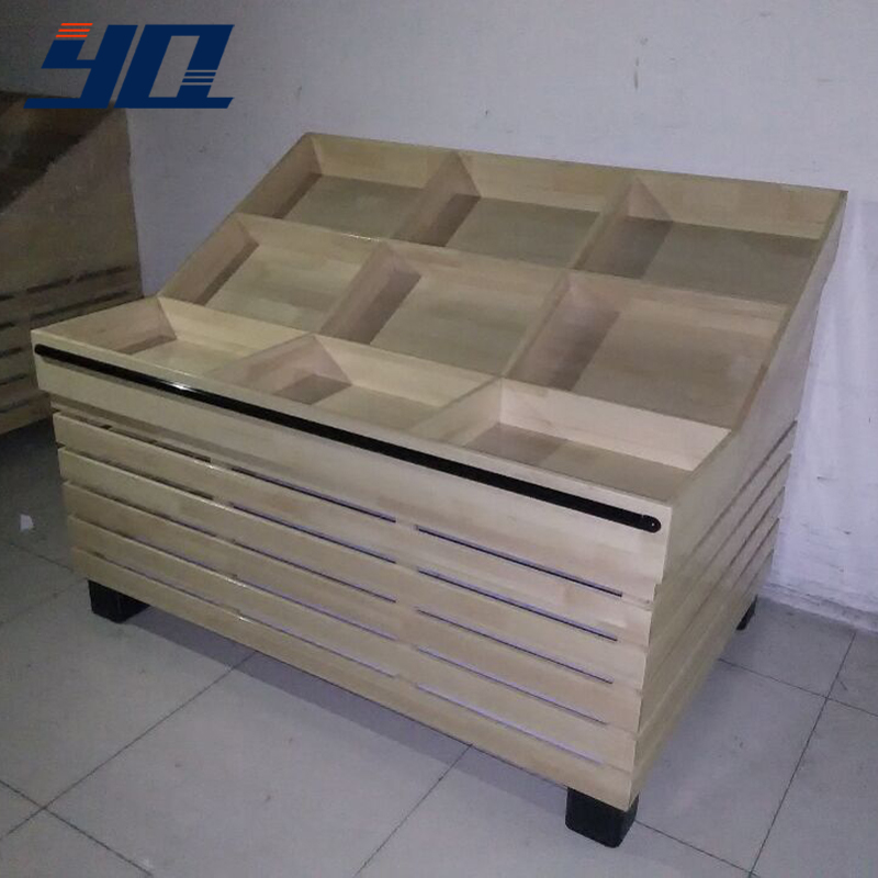 Angelina yq customized fruit vegetable shelf supermarket shelves wooden shelves wooden shelves display rack containers