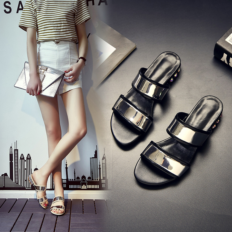 Animal husbandry ma 2016 summer new european and american mirror leather diamond rough with casual temperament hundred ride flat slippers female tide