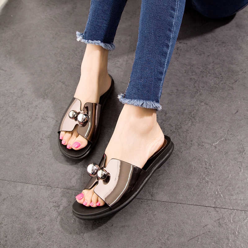 Animal husbandry ma 2016 summer new european style mirror bright skin patent leather sandals slippers casual comfort soft bottom flat shoes women