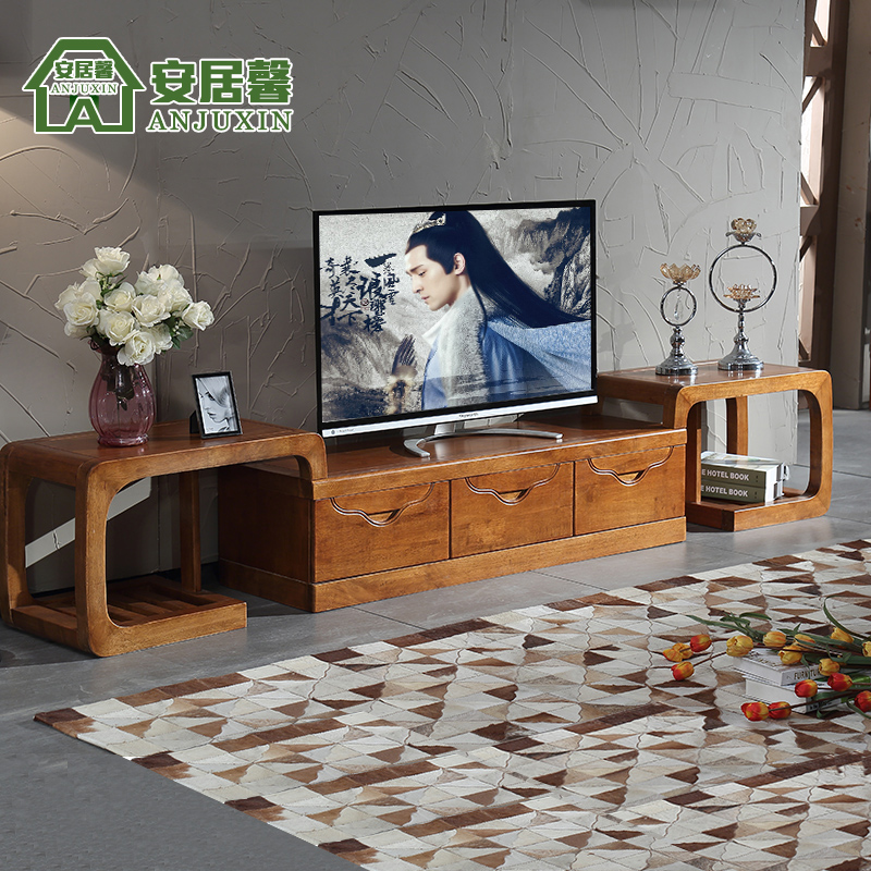 Anju xin rubber wood furniture wood tv cabinet modern minimalist retractable combination living room cabinet SDB01