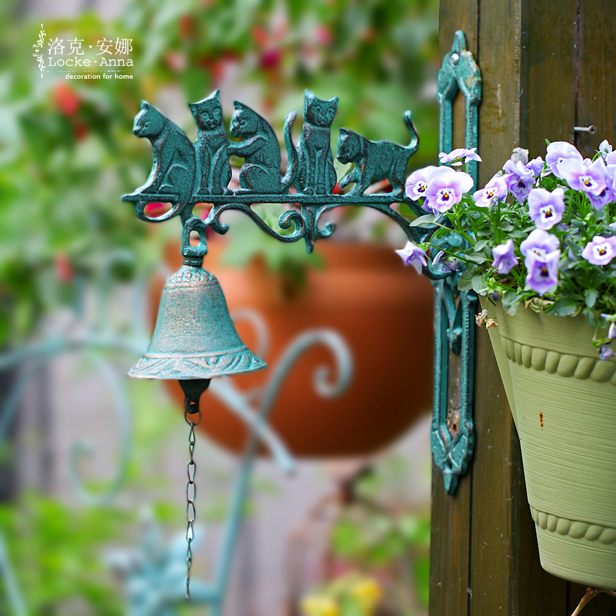 Anna locke european retro rustic wrought iron door trim rooster doorbeil bell the cat bar decorative wall hangings wall hangings