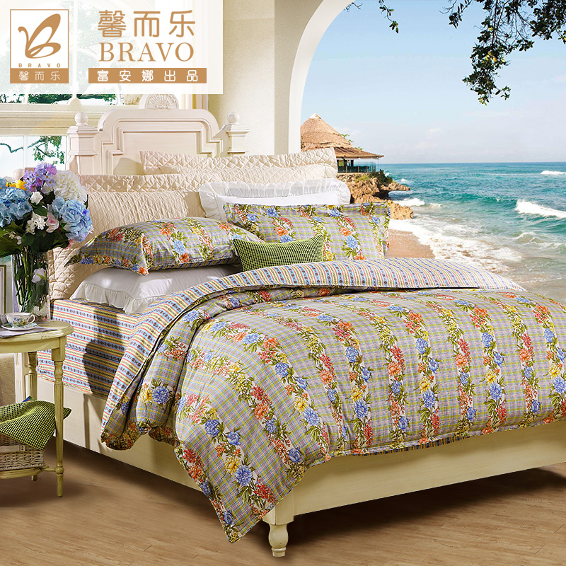 Anna rich textile xin and music authentic neutral cotton cotton bed linen family of four youth whisper