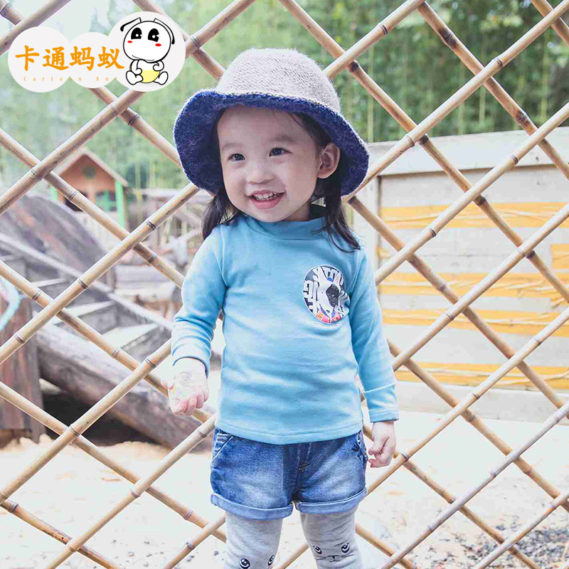 Ant kids 2015 fall and winter clothes for girls t-shirts for children cartoon baby and young children's card through the puppy letter jacket