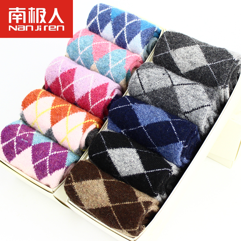Antarctic ms. male rabbit wool socks 5 pairs of boxed new autumn and winter thick warm wool socks in tube socks jacquard