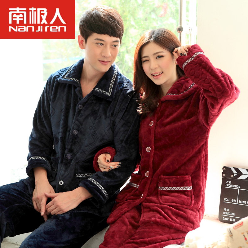 Antarctic warm autumn and winter men and ladies lapel long sleeve pajamas female thick flannel suit tracksuit couple