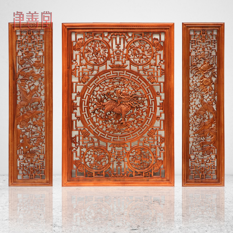 Antique wood crafts home decor feng shui lucky unicorn entrance openwork pendant dongyang wood carving guabing