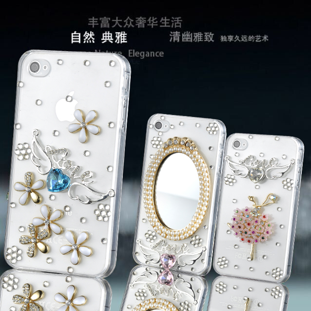 Apple 5 s/4s diamond mobile phone shell diamond iphone5/4/6/plus protective shell love love