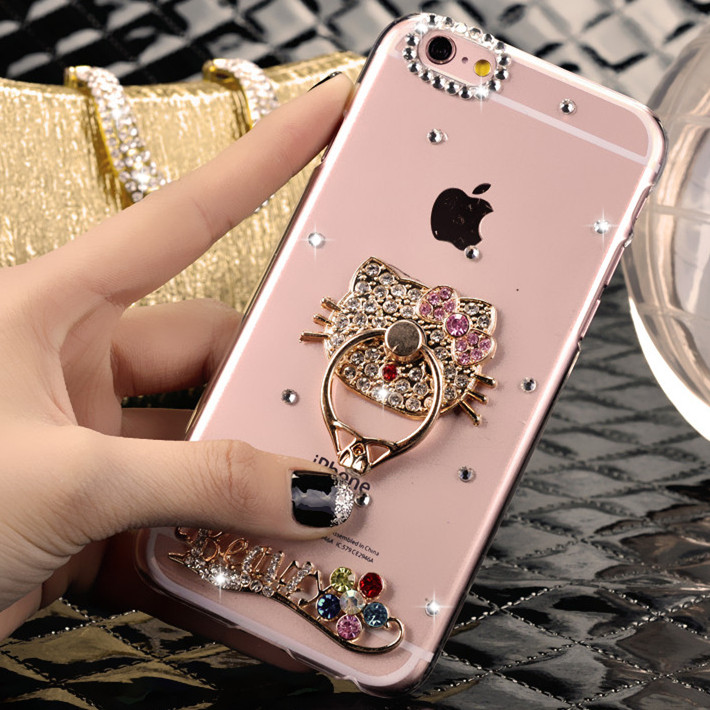 Apple 6splus phone shell mobile phone shell new female luxury diamond phone shell iphone6 4.7 silicone ring