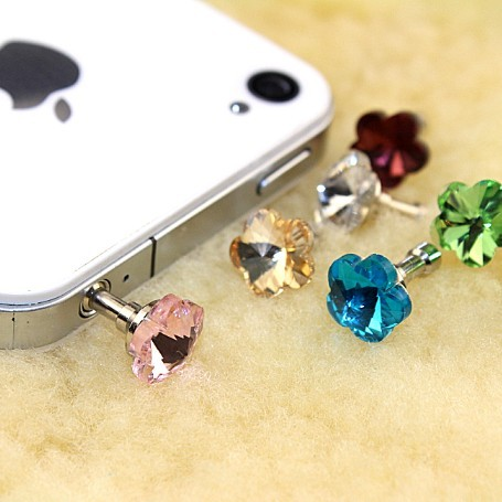 Apple iphone 5 headphone jack plug dust plug ipad 4S plum flash diamond dust plug mobile phone accessories