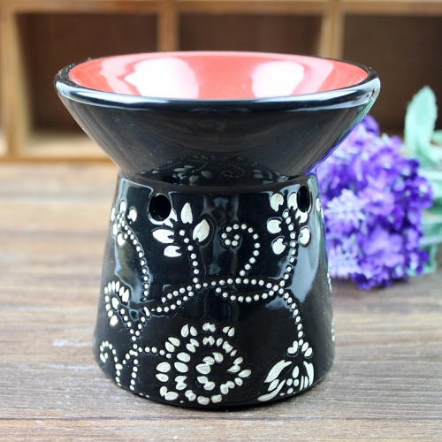 Aromatic black pattern ceramic furnace oil furnace aromatherapy candles aromatherapy incense smoke furnace oil fragrance