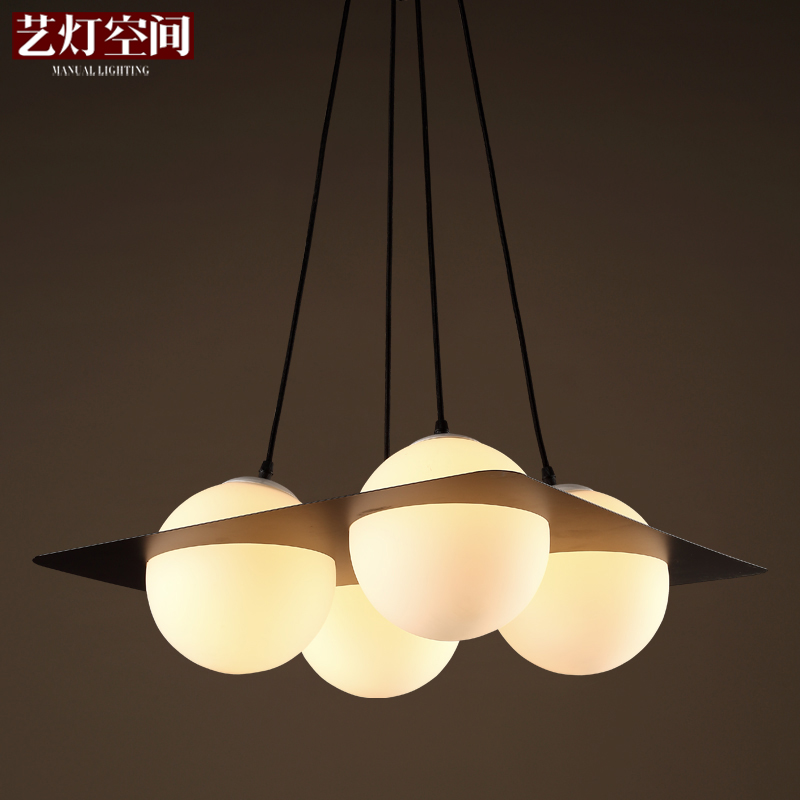 Art glass ball chandelier lamp creative space design living room dining room design coffee curator square lights