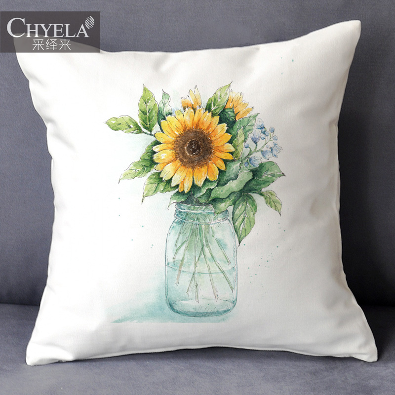 Art print pillow contadino girls painted oil painting vase of fresh illustration decorative fabric cushion sofa bed