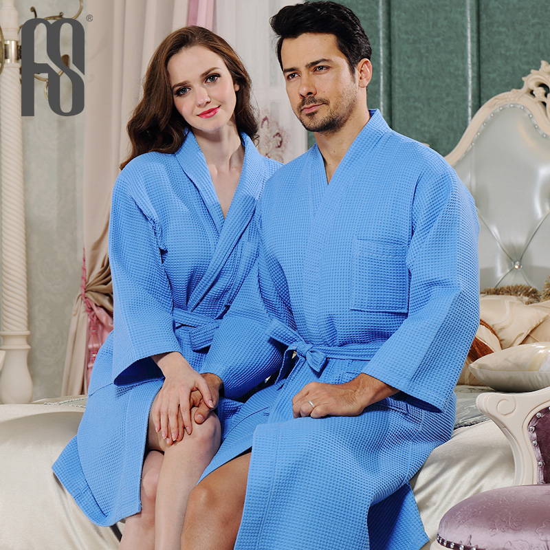 ART-SLUB hotel waffle bathrobe hotel bathrobe robe bathrobe couple cotton pajamas for men and women spring and summer