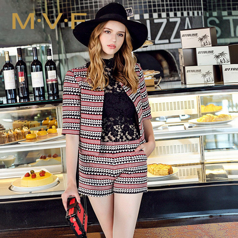 Article MVF2016 fashion national wind printing diamond suit comfortable and beautiful summer new leisure suit tide 1379