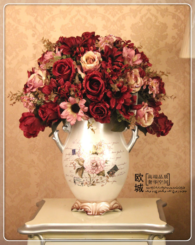Artificial flowers suit the living room table vase ornaments european furnishings decorative flower silk flower artificial flowers artificial flowers potted peonies