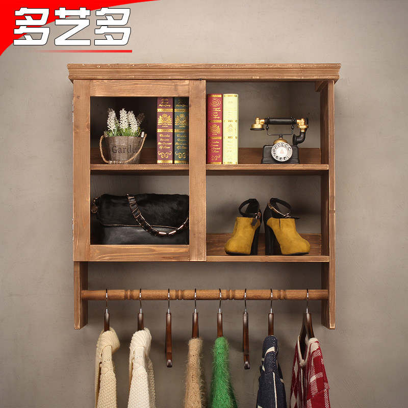 Arts and more and more retro clothing racks on the wall hanger clothing store wood closet shelves display rack display rack bag