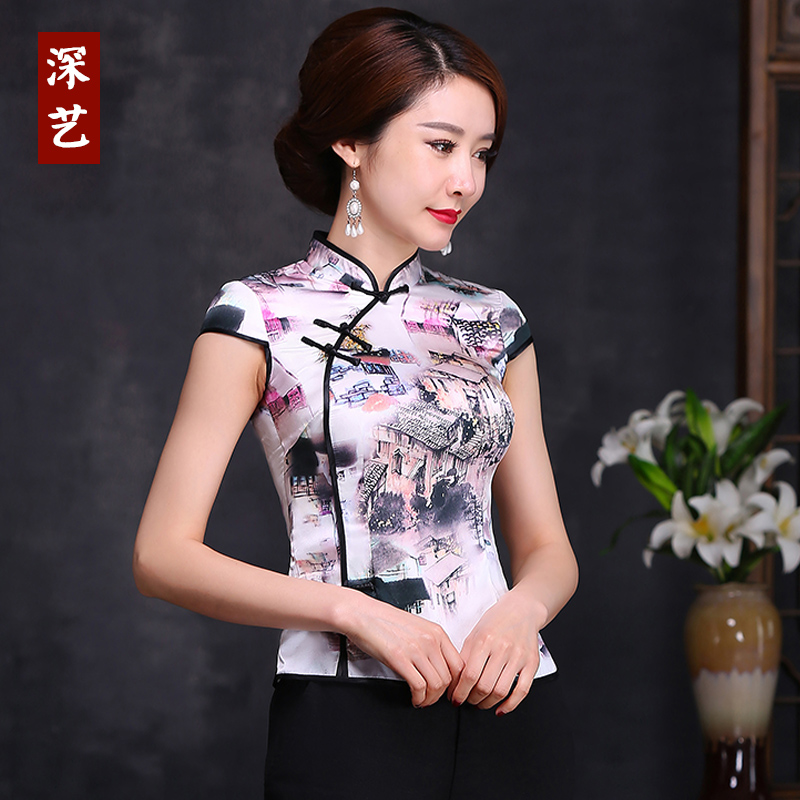 Arts deep mulberry silk cheongsam improved everyday fashion retro slim style coat female costume shirt summer