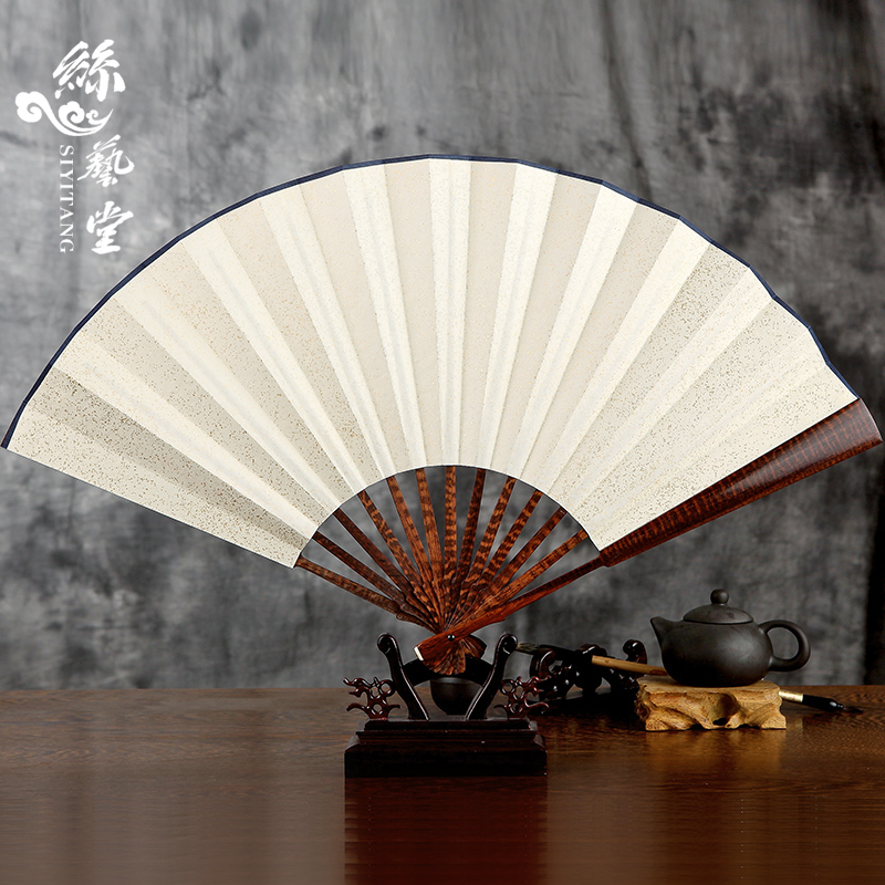 Arts hall 10 inch serpentine wooden blank paper fans throwing gifts craft fan male chinese man playing folding