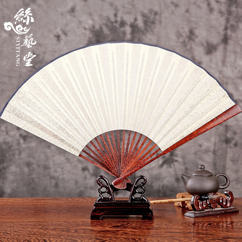 Arts hall 9 inch serpentine wooden handle men chinese style rice paper folding fan painting and calligraphy blank paper fans throwing fan