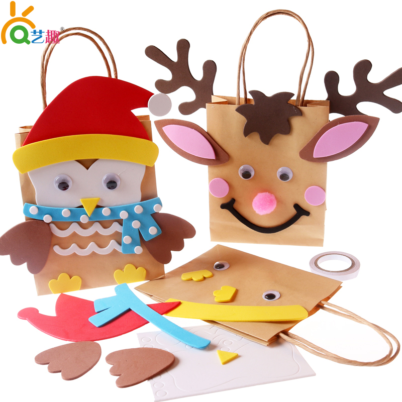 Arts preschool craft materials package eva christmas deer owl paper bag bag paper bag material diy material package