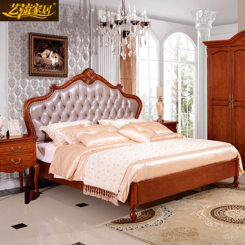 Arts stream home european american style carved wood furniture ash wood roolls 1.5 1.8 m double bed