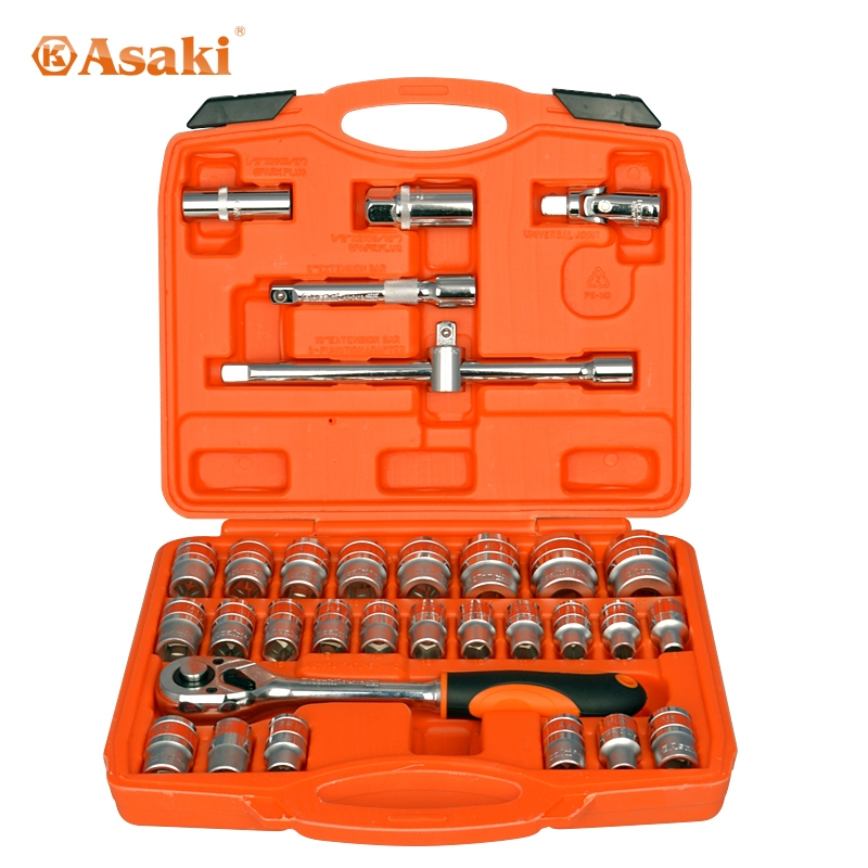 Asaki ratchet wrench auto repair tools socket tool kit aftermarket car care attendant tools