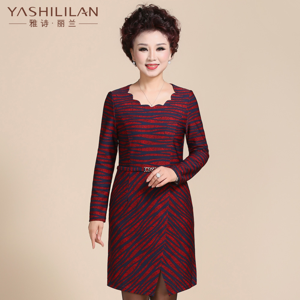Ascott lan slim dress fashion mother dress middle-aged middle-aged women's autumn and even middle-aged big yards skirt dress