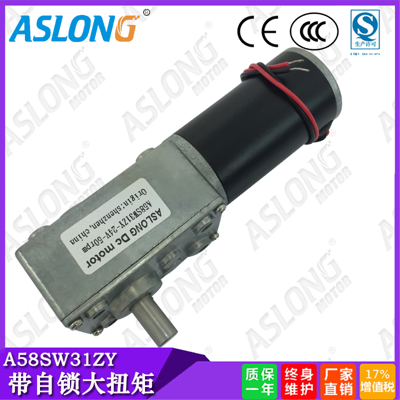 Aslong A58SW31ZY worm gear motor torque dc motor robot with locking motor speed reduction