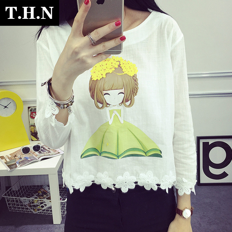 At the beginning of high school students college wind printed t-shirt girl long sleeve lace short paragraph korean version of the lovely flower blouse autumn