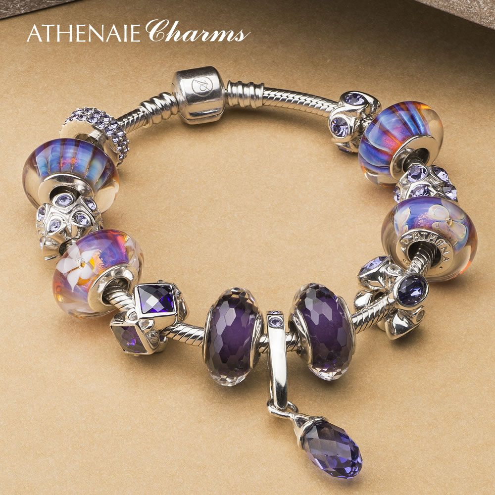 Athenaie fantasy purple austrian crystal glass beads 925 hand finished silver snake ossicular chain to send his girlfriend girlfriends