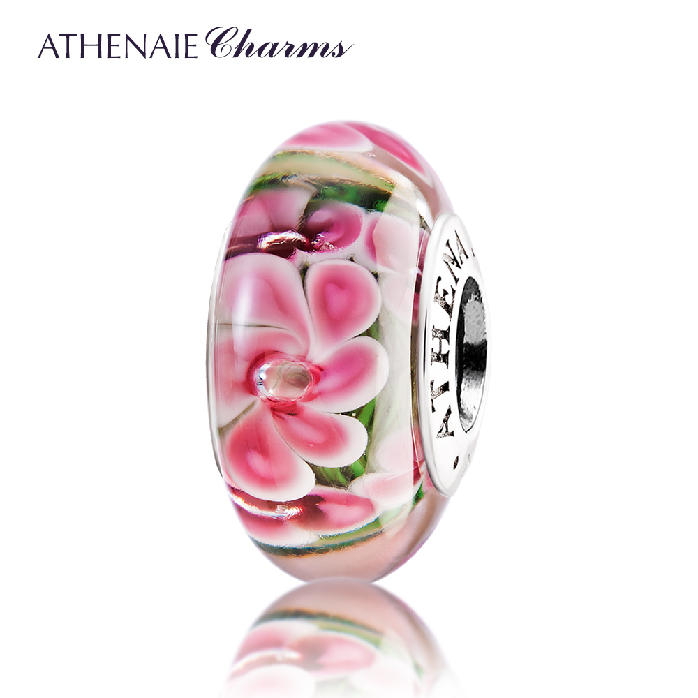 Athenaie italian glass 925 core double silver transporter flower beads glass beads loose beads to send his girlfriend