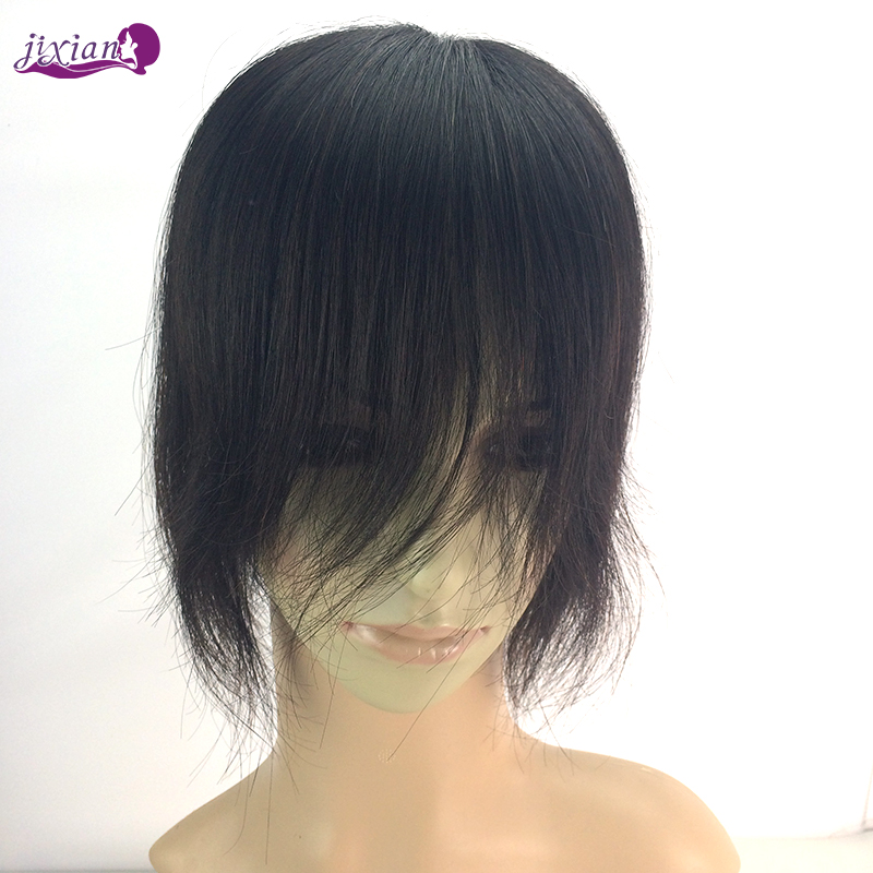 Auspicious head real hair wig full hand woven woven hair replacement piece seamless invisible piece fake bangs straight hair piece male