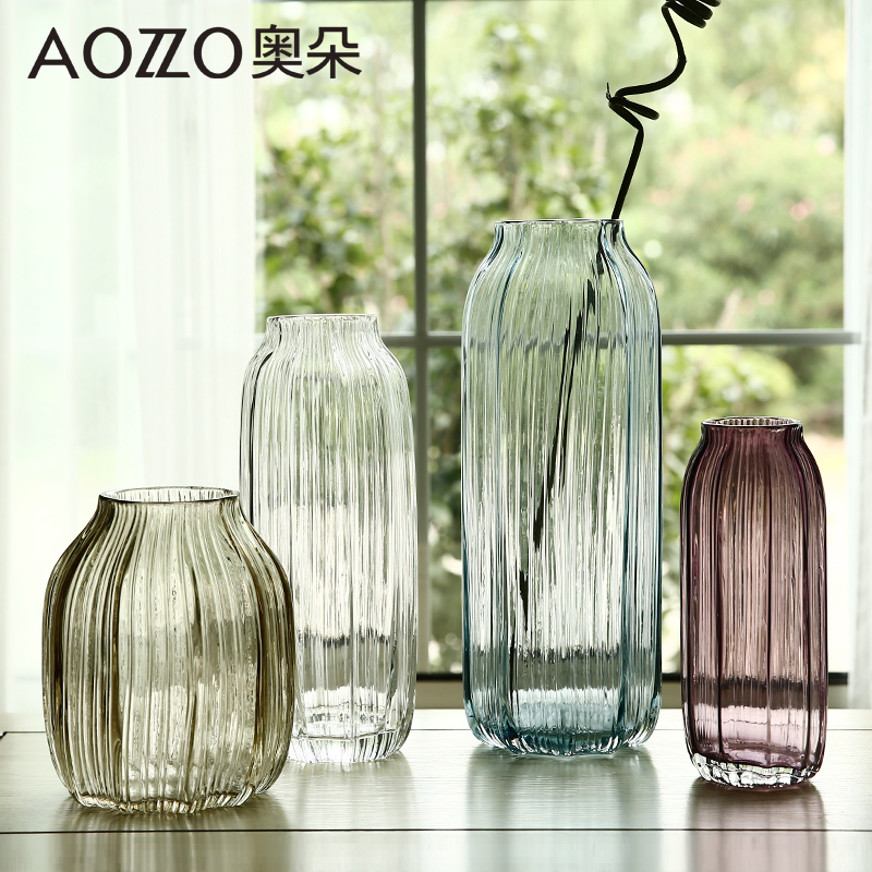 Austrian duo hand blown striped transparent glass vase european modern minimalist living room at home ornaments small vase of flowers