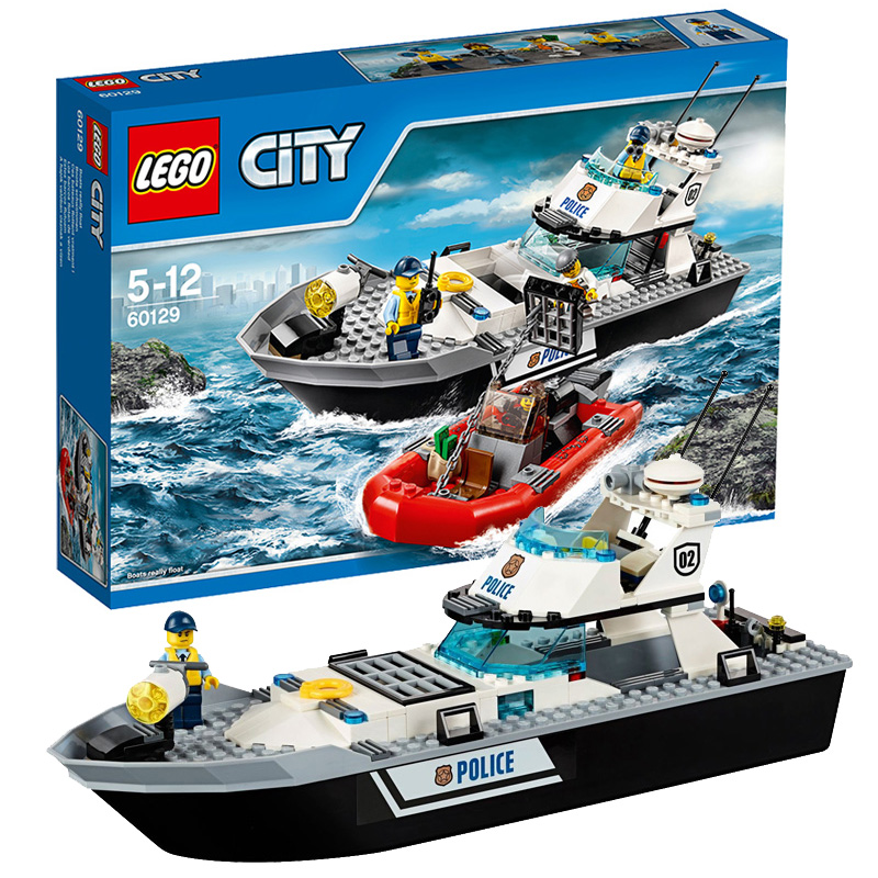 Authentic lego lego city blocks assembled children's educational toys gift series with police patrol boats 60129