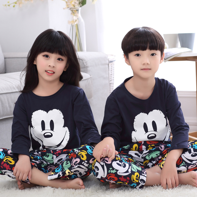 Autumn adolescent boys and girls cotton cartoon children's pajamas cotton long sleeve pajamas suit tracksuit big virgin