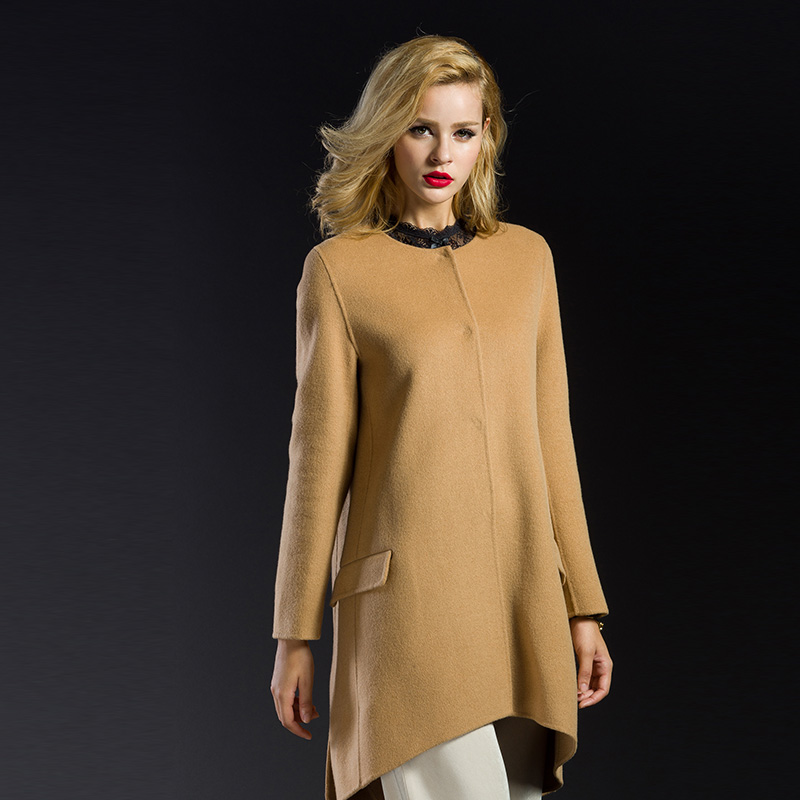 Autumn and winter bursting temperament atmosphere sided silhouette collarless wool coat female woolen coat and long sections slim