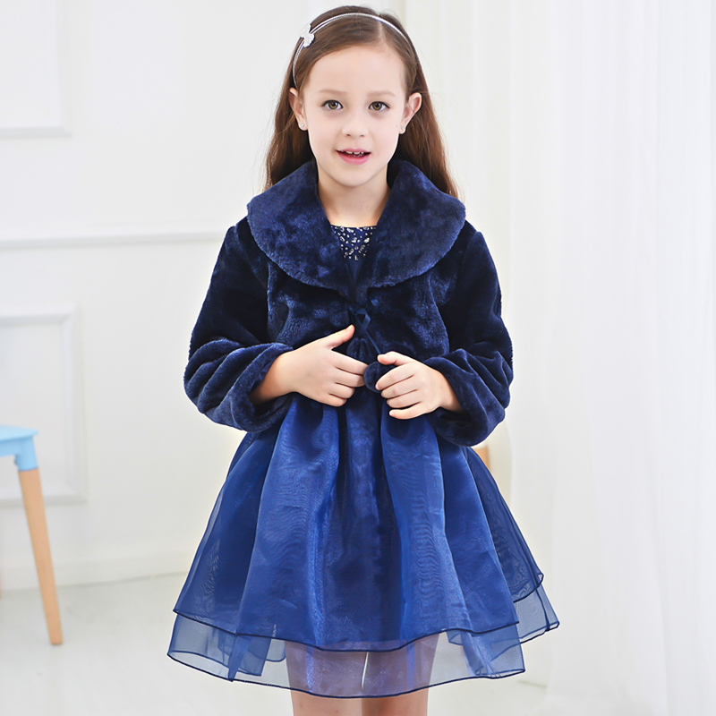 Autumn and winter children's clothing blue long sleeve princess dress children dress girls dresses flower girl wedding dress tutu costumes